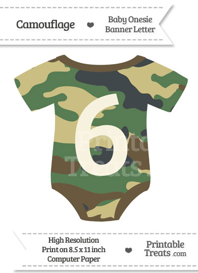 Camouflage Baby Onesie Shaped Banner Number 6 from PrintableTreats.com