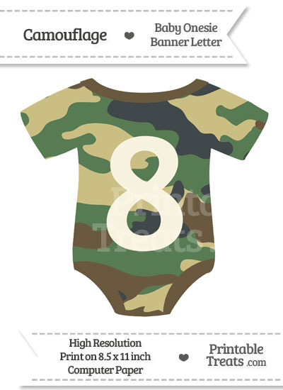 Camouflage Baby Onesie Shaped Banner Number 8 from PrintableTreats.com