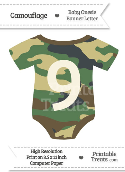 Camouflage Baby Onesie Shaped Banner Number 9 from PrintableTreats.com