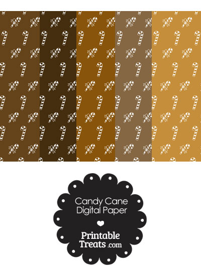 Candy Cane Scrapbook Paper with Brown Background from PrintableTreats.com