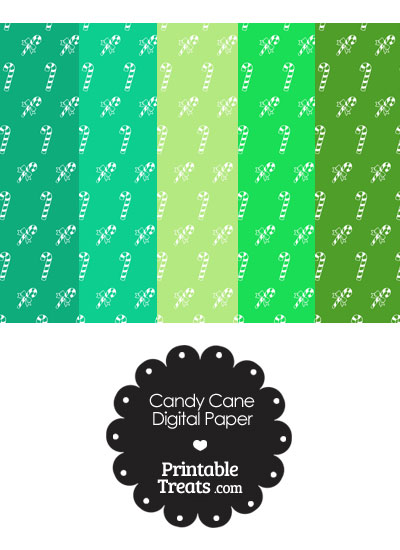 Candy Cane Scrapbook Paper with Green Background from PrintableTreats.com