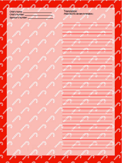 candy cane stationery template for sponsored child