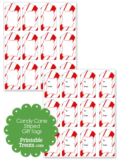 Candy Cane Stripes Christmas Gift Tags from PrintableTreats.com