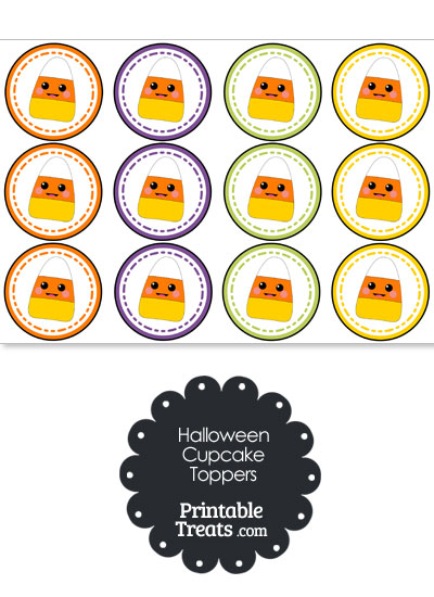 Candy Corn Halloween Cupcake Toppers from PrintableTreats.com