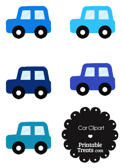 Car Clipart in Shades of Blue from PrintableTreats.com