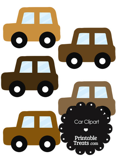 Car Clipart in Shades of Brown from PrintableTreats.com