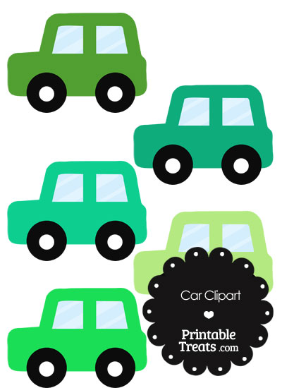 Car Clipart in Shades of Green from PrintableTreats.com