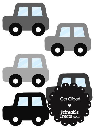 Car Clipart in Shades of Grey from PrintableTreats.com