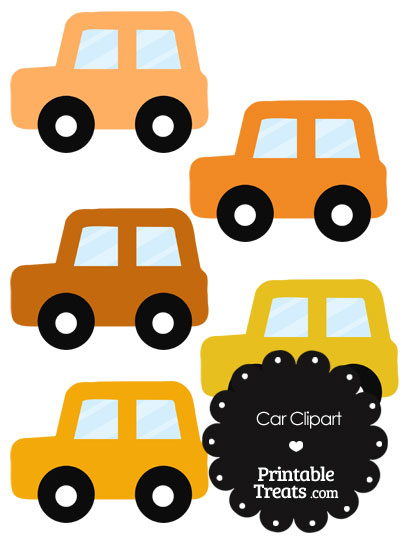 Car Clipart in Shades of Orange from PrintableTreats.com