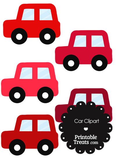 Car Clipart in Shades of Red from PrintableTreats.com