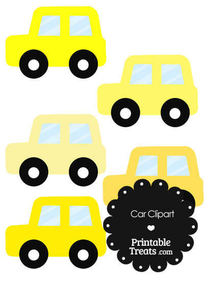Car Clipart in Shades of Yellow from PrintableTreats.com