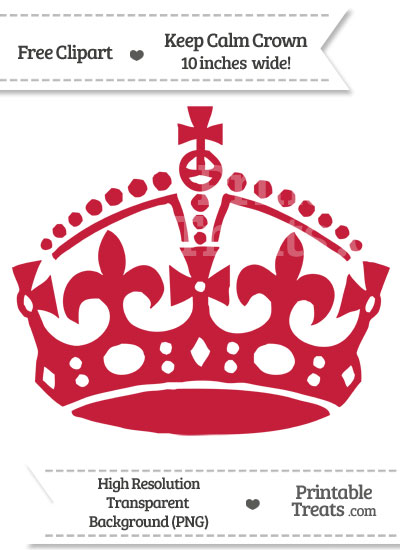 Cardinal Red Keep Calm Crown Clipart from PrintableTreats.com