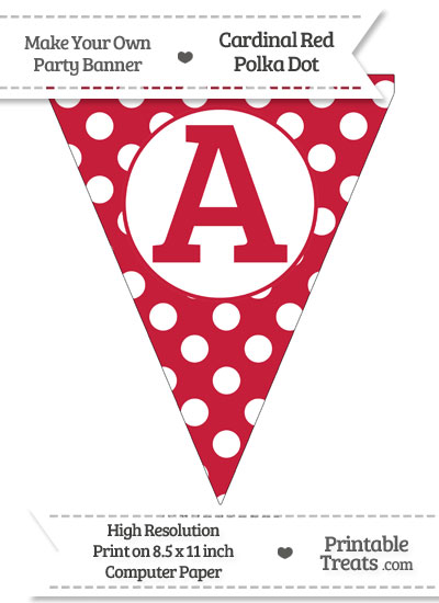 Cardinal Red Polka Dot Pennant Flag Capital Letter A from PrintableTreats.com