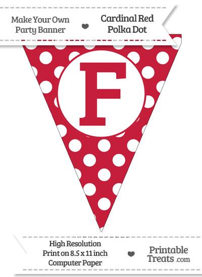 Cardinal Red Polka Dot Pennant Flag Capital Letter F from PrintableTreats.com