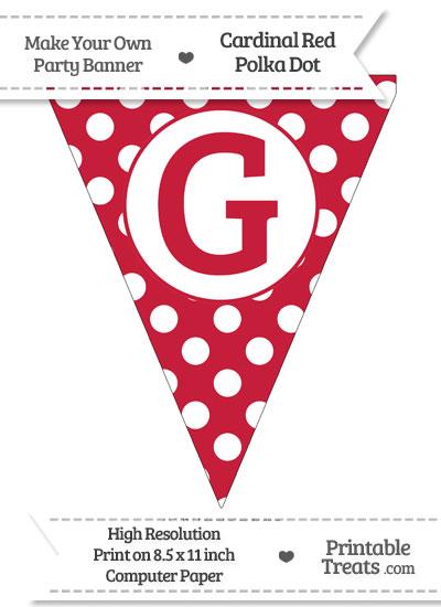 Cardinal Red Polka Dot Pennant Flag Capital Letter G from PrintableTreats.com