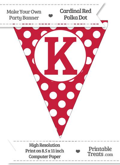 Cardinal Red Polka Dot Pennant Flag Capital Letter K from PrintableTreats.com