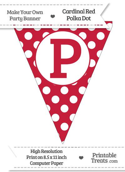 Cardinal Red Polka Dot Pennant Flag Capital Letter P from PrintableTreats.com