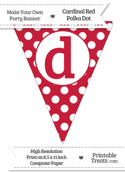 Cardinal Red Polka Dot Pennant Flag Lowercase Letter D from PrintableTreats.com