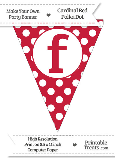 Cardinal Red Polka Dot Pennant Flag Lowercase Letter F from PrintableTreats.com
