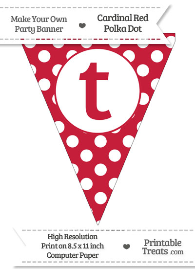 Cardinal Red Polka Dot Pennant Flag Lowercase Letter T from PrintableTreats.com