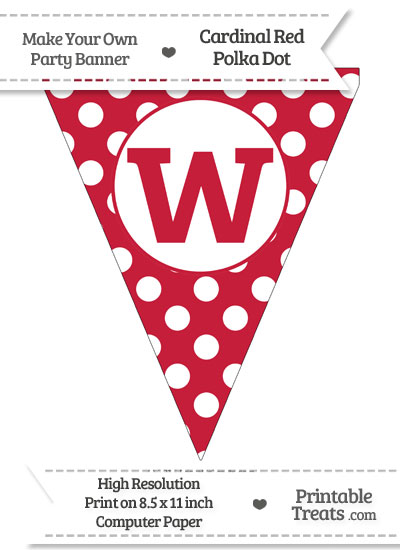 Cardinal Red Polka Dot Pennant Flag Lowercase Letter W from PrintableTreats.com