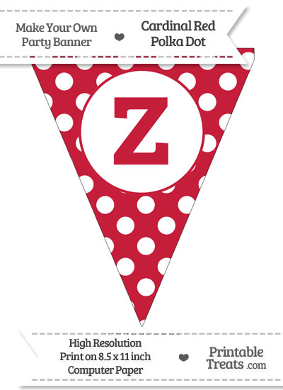 Cardinal Red Polka Dot Pennant Flag Lowercase Letter Z from PrintableTreats.com