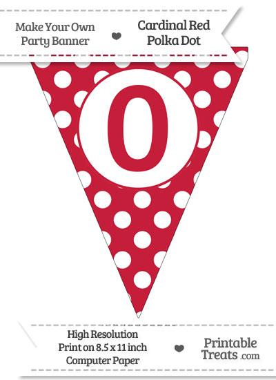 Cardinal Red Polka Dot Pennant Flag Number 0 from PrintableTreats.com