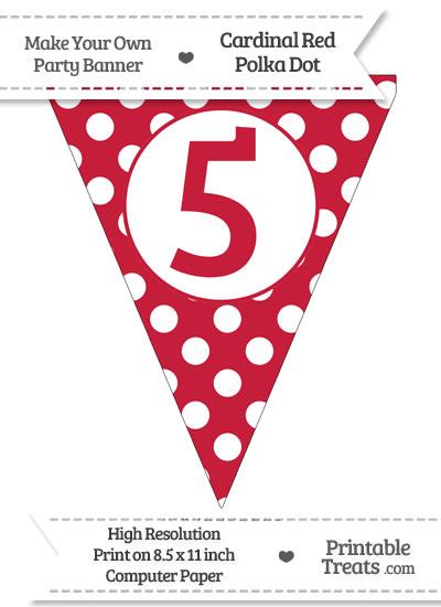 Cardinal Red Polka Dot Pennant Flag Number 5 from PrintableTreats.com