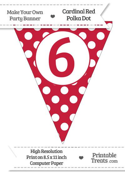 Cardinal Red Polka Dot Pennant Flag Number 6 from PrintableTreats.com