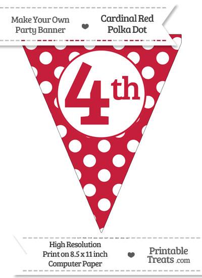 Cardinal Red Polka Dot Pennant Flag Ordinal Number 4th from PrintableTreats.com