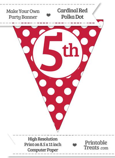 Cardinal Red Polka Dot Pennant Flag Ordinal Number 5th from PrintableTreats.com