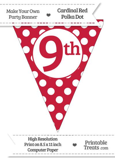 Cardinal Red Polka Dot Pennant Flag Ordinal Number 9th from PrintableTreats.com