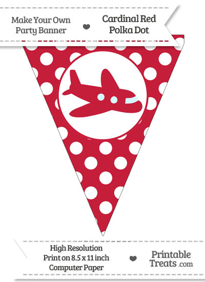 Cardinal Red Polka Dot Pennant Flag with Airplane Facing Right from PrintableTreats.com