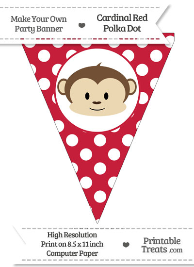 Cardinal Red Polka Dot Pennant Flag with Boy Monkey from PrintableTreats.com