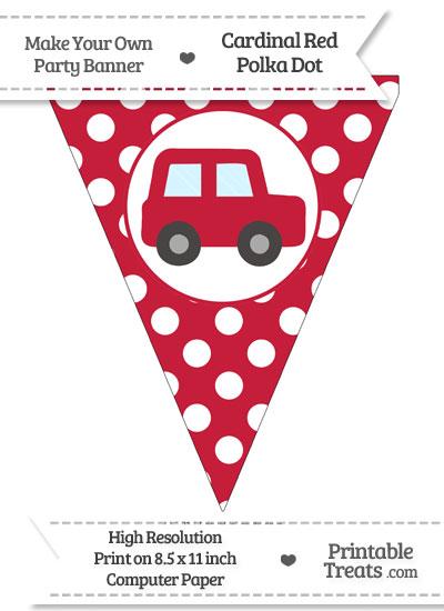 Cardinal Red Polka Dot Pennant Flag with Car Facing Right from PrintableTreats.com