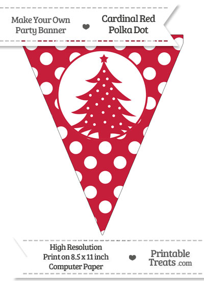Cardinal Red Polka Dot Pennant Flag with Christmas Tree from PrintableTreats.com