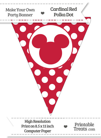 Cardinal Red Polka Dot Pennant Flag with Mickey Mouse from PrintableTreats.com