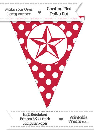 Cardinal Red Polka Dot Pennant Flag with Nautical Star from PrintableTreats.com