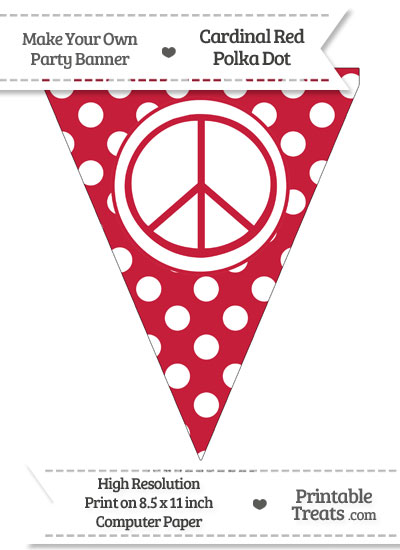 Cardinal Red Polka Dot Pennant Flag with Peace Sign from PrintableTreats.com