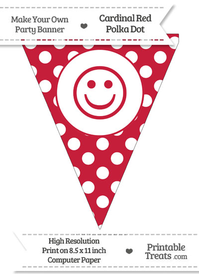 Cardinal Red Polka Dot Pennant Flag with Smiley Face from PrintableTreats.com