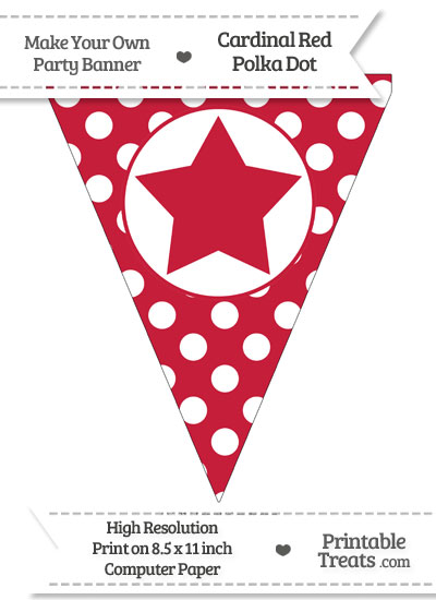 Cardinal Red Polka Dot Pennant Flag with Star from PrintableTreats.com