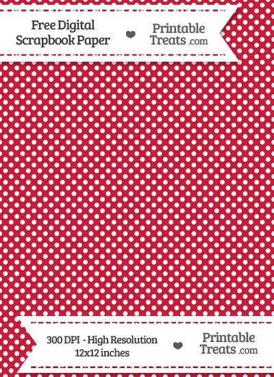 Cardinal Red Raised Mini Polka Dots Digital Paper from PrintableTreats.com