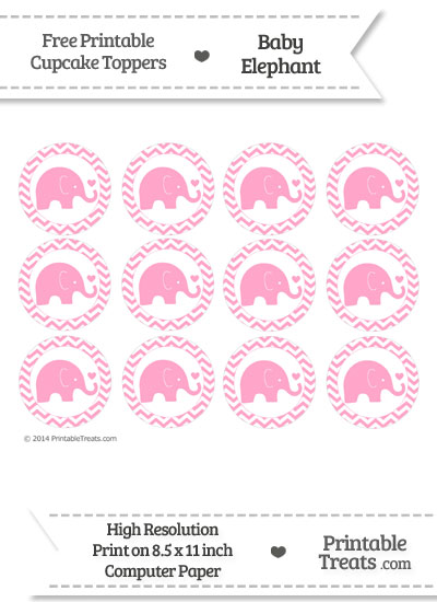 Carnation Pink Baby Elephant Chevron Cupcake Toppers from PrintableTreats.com