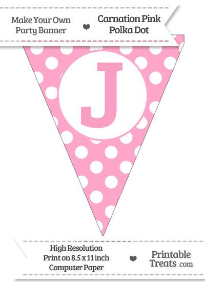 Carnation Pink Polka Dot Pennant Flag Capital Letter J from PrintableTreats.com