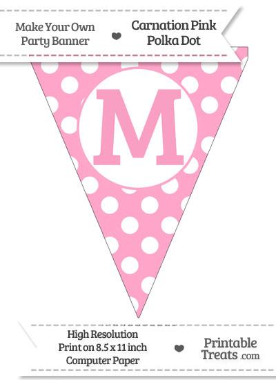 Carnation Pink Polka Dot Pennant Flag Capital Letter M from PrintableTreats.com
