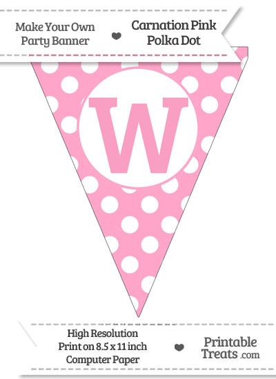 Carnation Pink Polka Dot Pennant Flag Capital Letter W from PrintableTreats.com