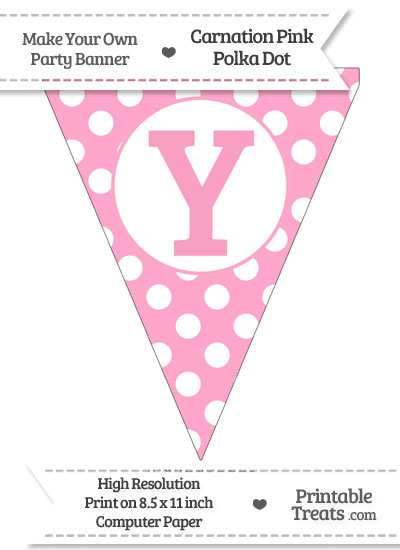 Carnation Pink Polka Dot Pennant Flag Capital Letter Y from PrintableTreats.com