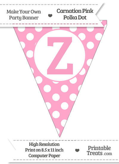 Carnation Pink Polka Dot Pennant Flag Capital Letter Z from PrintableTreats.com