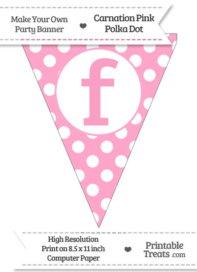Carnation Pink Polka Dot Pennant Flag Lowercase Letter F from PrintableTreats.com