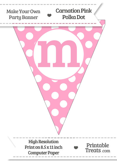 Carnation Pink Polka Dot Pennant Flag Lowercase Letter M from PrintableTreats.com